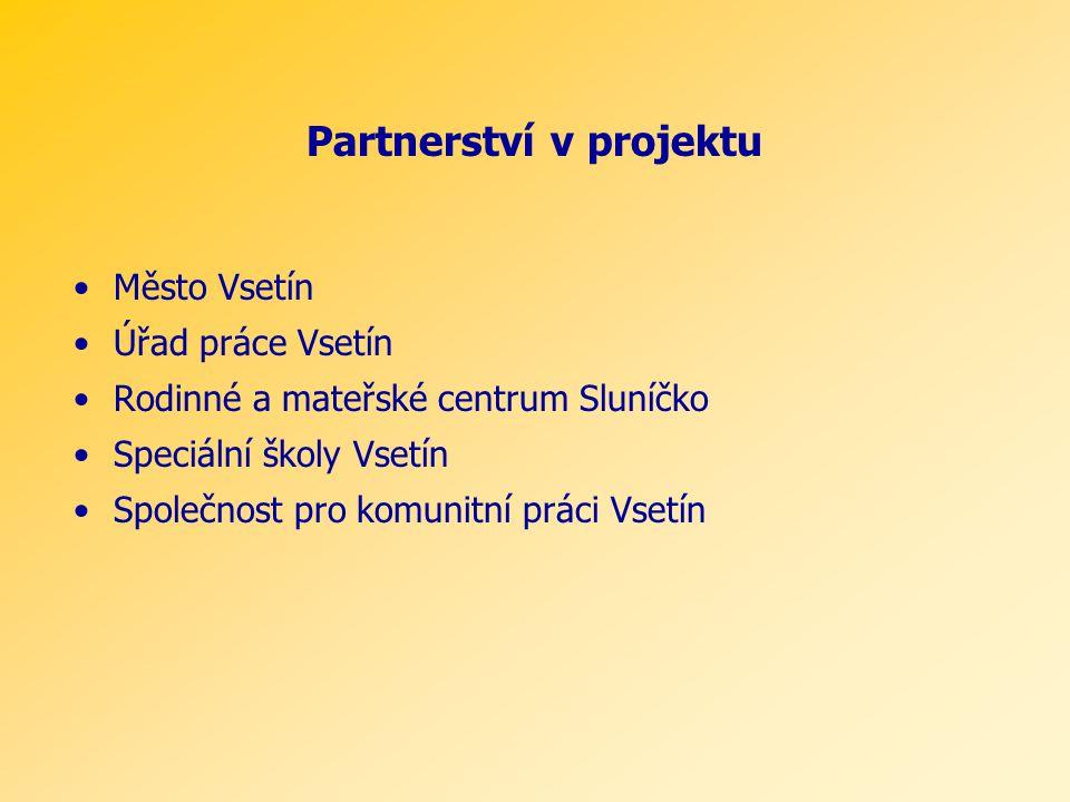 Partnerství v projektu Město Vsetín Úřad práce Vsetín Rodinné a mateřské centrum Sluníčko Speciální školy Vsetín Společnost pro komunitní práci Vsetín