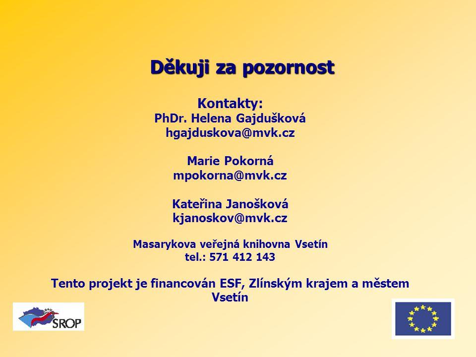 Děkuji za pozornost Kontakty: PhDr.