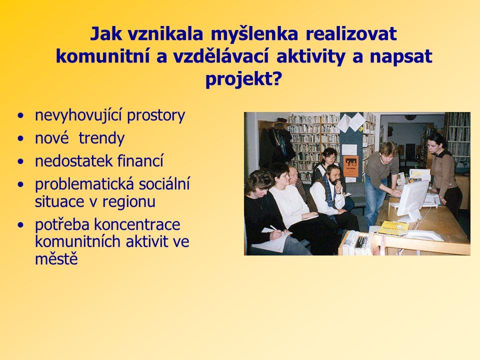 Jak vznikala myšlenka realizovat komunitní a vzdělávací aktivity a napsat projekt.