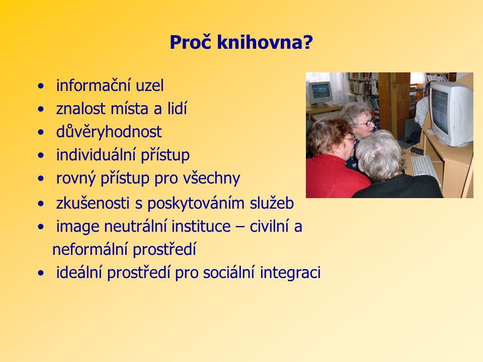 Předchozí zkušenosti knihovny zkušenosti s cílovými skupinami -široká veřejnost -děti -nezaměstnaní -rodiče s malými dětmi -Senioři -NNO -atd.