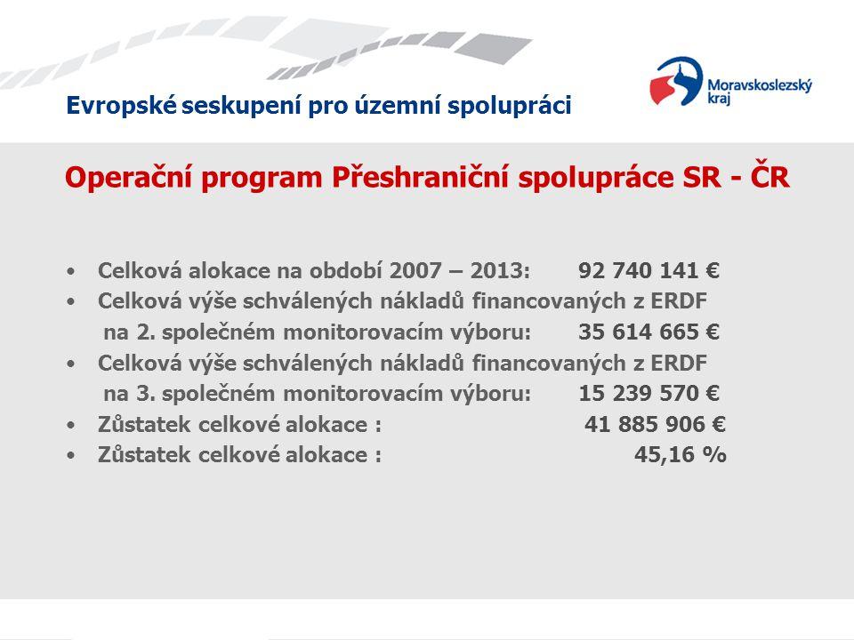 Evropské seskupení pro územní spolupráci Operační program Přeshraniční spolupráce SR - ČR Celková alokace na období 2007 – 2013: 92 740 141 € Celková výše schválených nákladů financovaných z ERDF na 2.