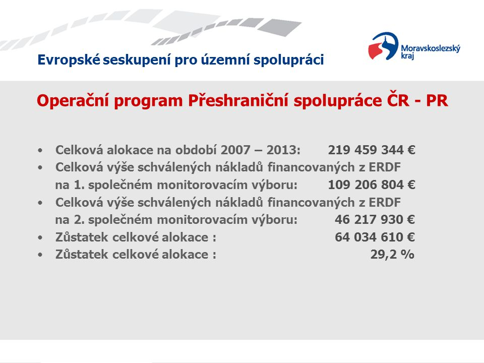 Evropské seskupení pro územní spolupráci Operační program Přeshraniční spolupráce ČR - PR Celková alokace na období 2007 – 2013: 219 459 344 € Celková výše schválených nákladů financovaných z ERDF na 1.