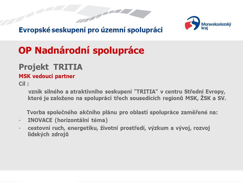 Evropské seskupení pro územní spolupráci OP Nadnárodní spolupráce Projekt TRITIA MSK vedoucí partner Cíl : vznik silného a atraktivního seskupení TRITIA v centru Střední Evropy, které je založeno na spolupráci třech sousedících regionů MSK, ŽSK a SV.