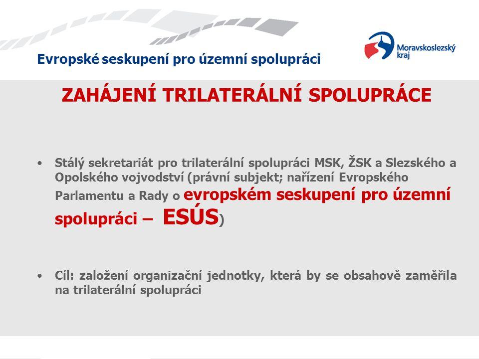 Evropské seskupení pro územní spolupráci ZAHÁJENÍ TRILATERÁLNÍ SPOLUPRÁCE Stálý sekretariát pro trilaterální spolupráci MSK, ŽSK a Slezského a Opolského vojvodství (právní subjekt; nařízení Evropského Parlamentu a Rady o evropském seskupení pro územní spolupráci – ESÚS ) Cíl: založení organizační jednotky, která by se obsahově zaměřila na trilaterální spolupráci