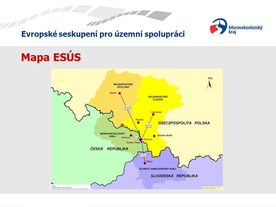 Evropské seskupení pro územní spolupráci Mapa ESÚS