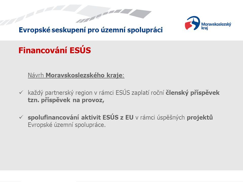 Evropské seskupení pro územní spolupráci Financování ESÚS Návrh Moravskoslezského kraje: každý partnerský region v rámci ESÚS zaplatí roční členský příspěvek tzn.