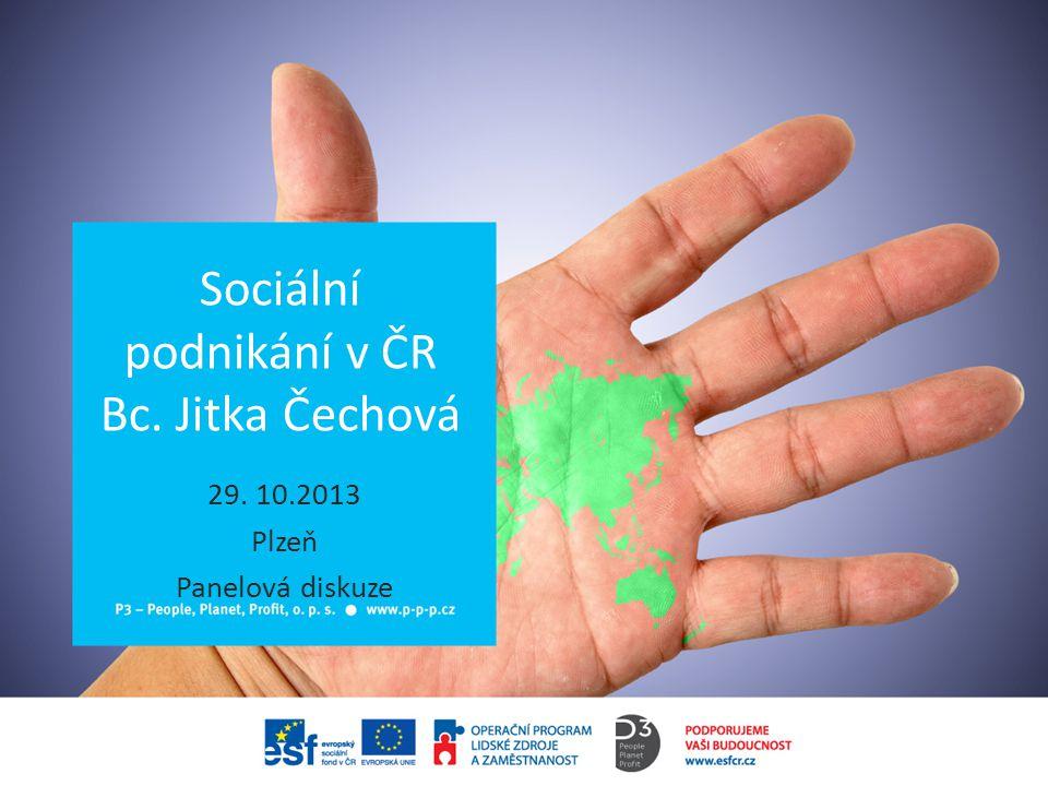 Sociální podnikání v ČR Bc. Jitka Čechová 29. 10.2013 Plzeň Panelová diskuze