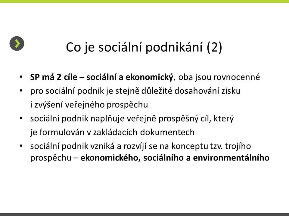 Co je sociální podnikání (2) SP má 2 cíle – sociální a ekonomický, oba jsou rovnocenné pro sociální podnik je stejně důležité dosahování zisku i zvýše