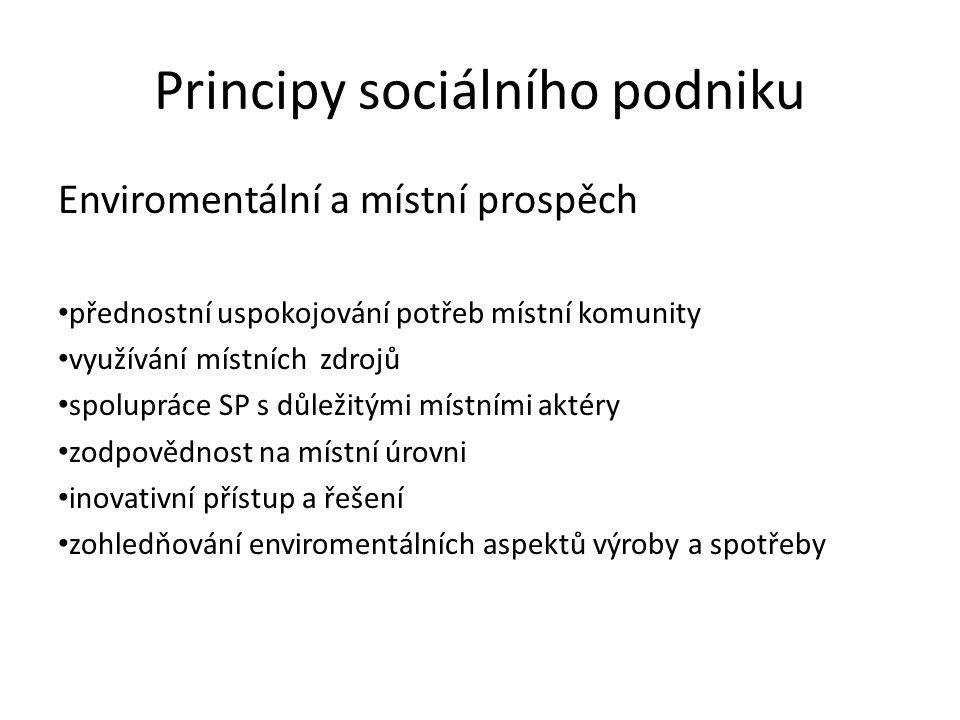 Principy sociálního podniku Enviromentální a místní prospěch přednostní uspokojování potřeb místní komunity využívání místních zdrojů spolupráce SP s