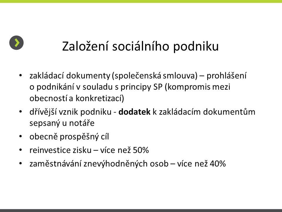Založení sociálního podniku zakládací dokumenty (společenská smlouva) – prohlášení o podnikání v souladu s principy SP (kompromis mezi obecností a kon
