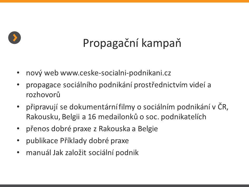 Propagační kampaň nový web www.ceske-socialni-podnikani.cz propagace sociálního podnikání prostřednictvím videí a rozhovorů připravují se dokumentární