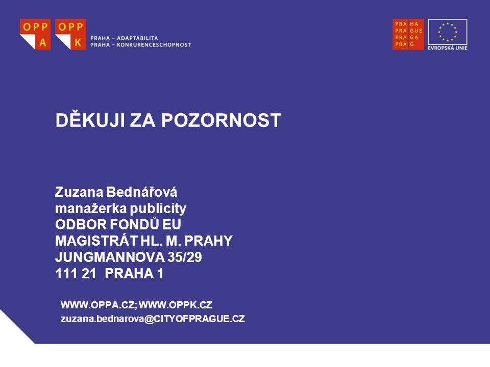 DĚKUJI ZA POZORNOST Zuzana Bednářová manažerka publicity ODBOR FONDŮ EU MAGISTRÁT HL.