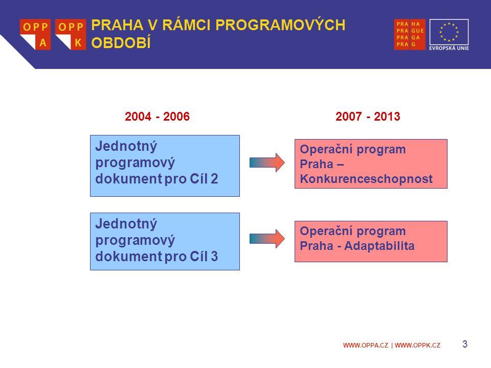 WWW.OPPA.CZ | WWW.OPPK.CZ 3 Operační program Praha – Konkurenceschopnost Jednotný programový dokument pro Cíl 3 Operační program Praha - Adaptabilita Jednotný programový dokument pro Cíl 2 2004 - 20062007 - 2013 PRAHA V RÁMCI PROGRAMOVÝCH OBDOBÍ
