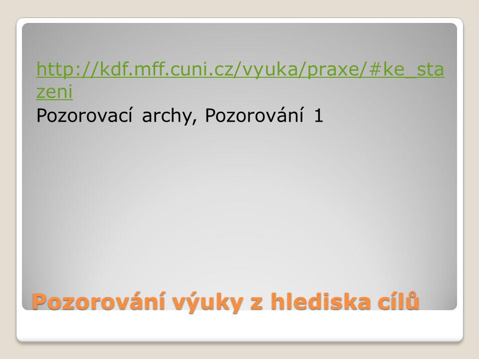 Pozorování výuky z hlediska cílů http://kdf.mff.cuni.cz/vyuka/praxe/#ke_sta zeni Pozorovací archy, Pozorování 1
