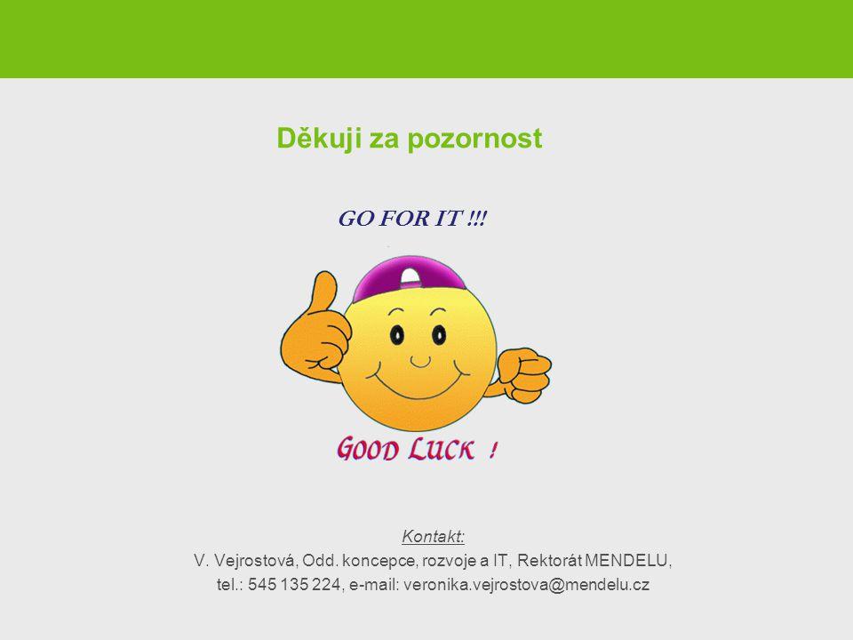 Děkuji za pozornost Kontakt: V. Vejrostová, Odd. koncepce, rozvoje a IT, Rektorát MENDELU, tel.: 545 135 224, e-mail: veronika.vejrostova@mendelu.cz G
