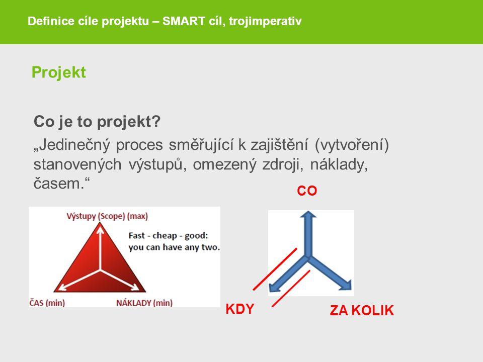 """Projekt Co je to projekt? """"Jedinečný proces směřující k zajištění (vytvoření) stanovených výstupů, omezený zdroji, náklady, časem."""" Definice cíle proj"""