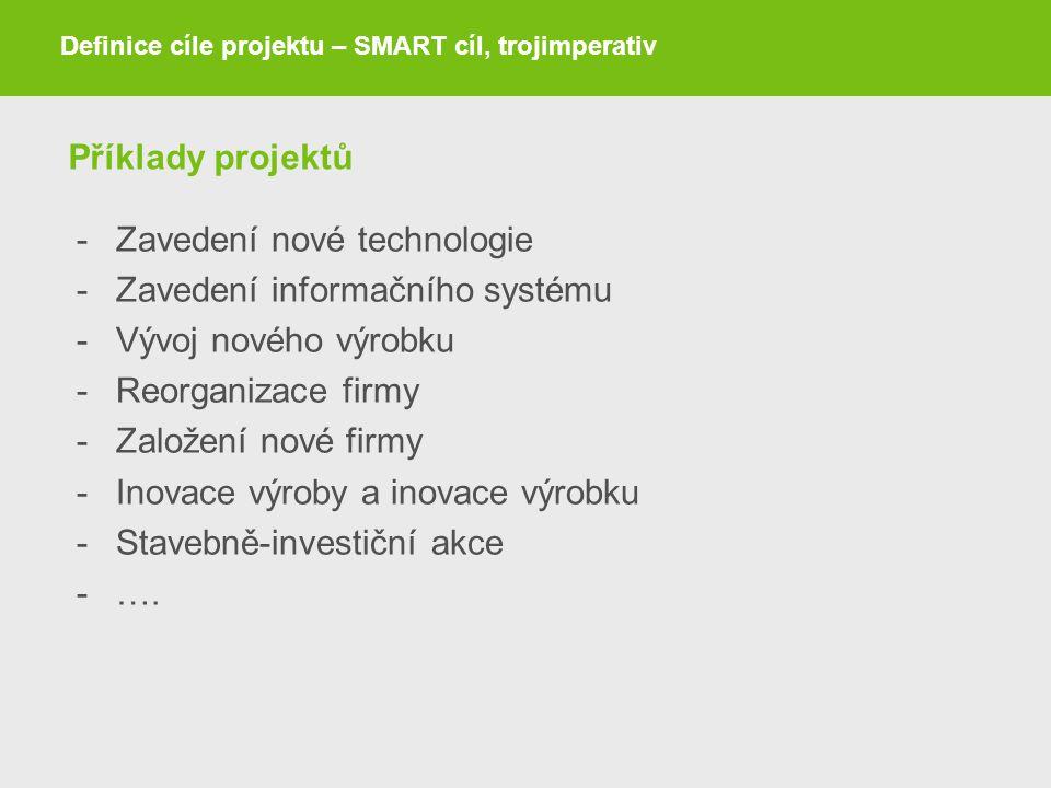 Příklady projektů -Zavedení nové technologie -Zavedení informačního systému -Vývoj nového výrobku -Reorganizace firmy -Založení nové firmy -Inovace vý