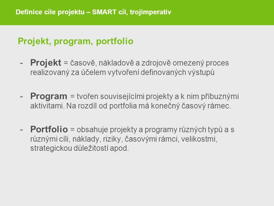 Projekt, program, portfolio -Projekt = časově, nákladově a zdrojově omezený proces realizovaný za účelem vytvoření definovaných výstupů -Program = tvo