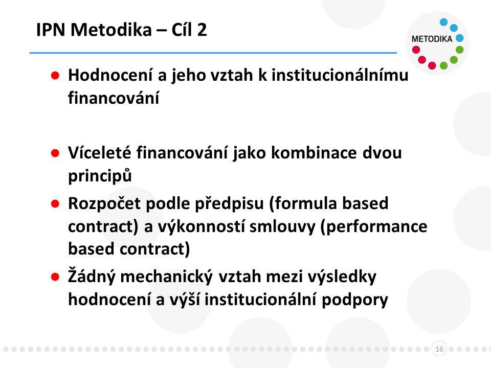 IPN Metodika – Cíl 2 16 ● Hodnocení a jeho vztah k institucionálnímu financování ● Víceleté financování jako kombinace dvou principů ● Rozpočet podle předpisu (formula based contract) a výkonností smlouvy (performance based contract) ● Žádný mechanický vztah mezi výsledky hodnocení a výší institucionální podpory