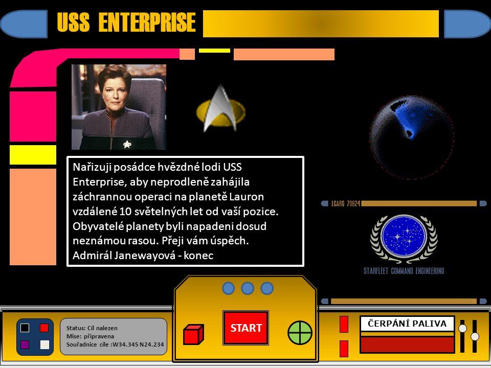 START Status: Cíl nalezen Mise: připravena Souřadnice cíle :W34.345 N24.234 ČERPÁNÍ PALIVA USS ENTERPRISE MISE SPLNĚNA