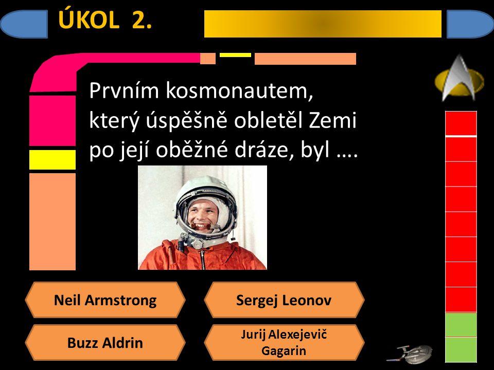 Neil Armstrong Buzz Aldrin Sergej Leonov Jurij Alexejevič Gagarin ÚKOL 2.