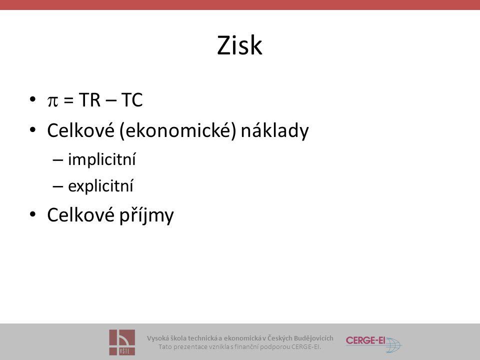 Vysoká škola technická a ekonomická v Českých Budějovicích Tato prezentace vznikla s finanční podporou CERGE-EI. Zisk  = TR – TC Celkové (ekonomické)