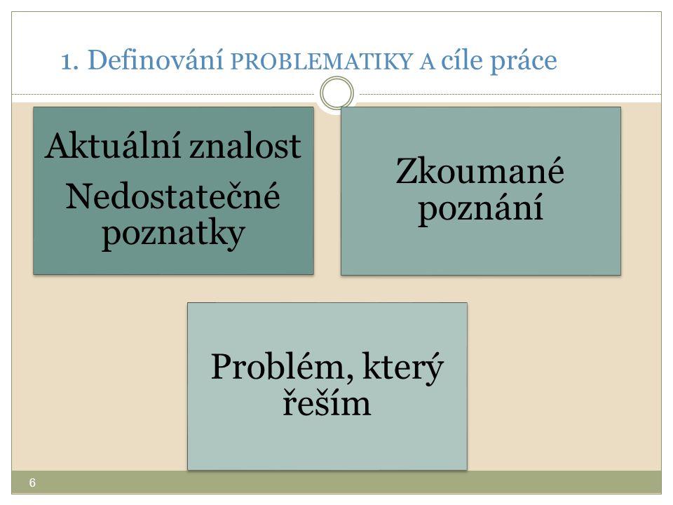1. Definování PROBLEMATIKY A cíle práce Aktuální znalost Nedostatečné poznatky Zkoumané poznání Problém, který řeším 6