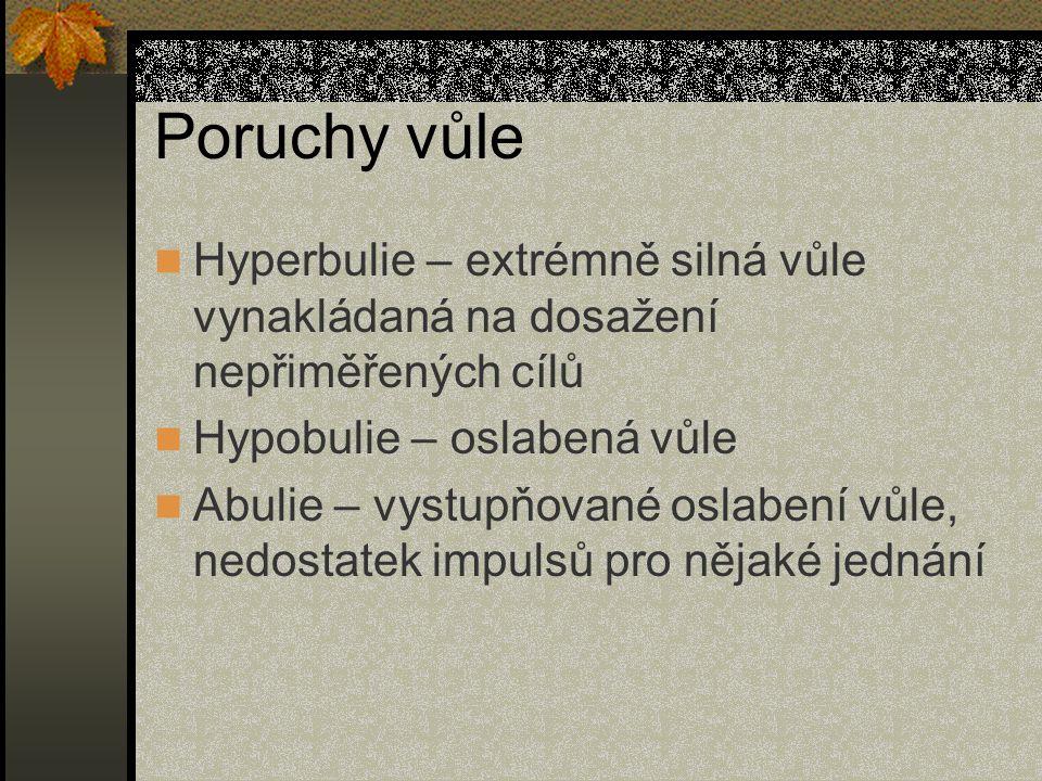 Poruchy vůle Hyperbulie – extrémně silná vůle vynakládaná na dosažení nepřiměřených cílů Hypobulie – oslabená vůle Abulie – vystupňované oslabení vůle