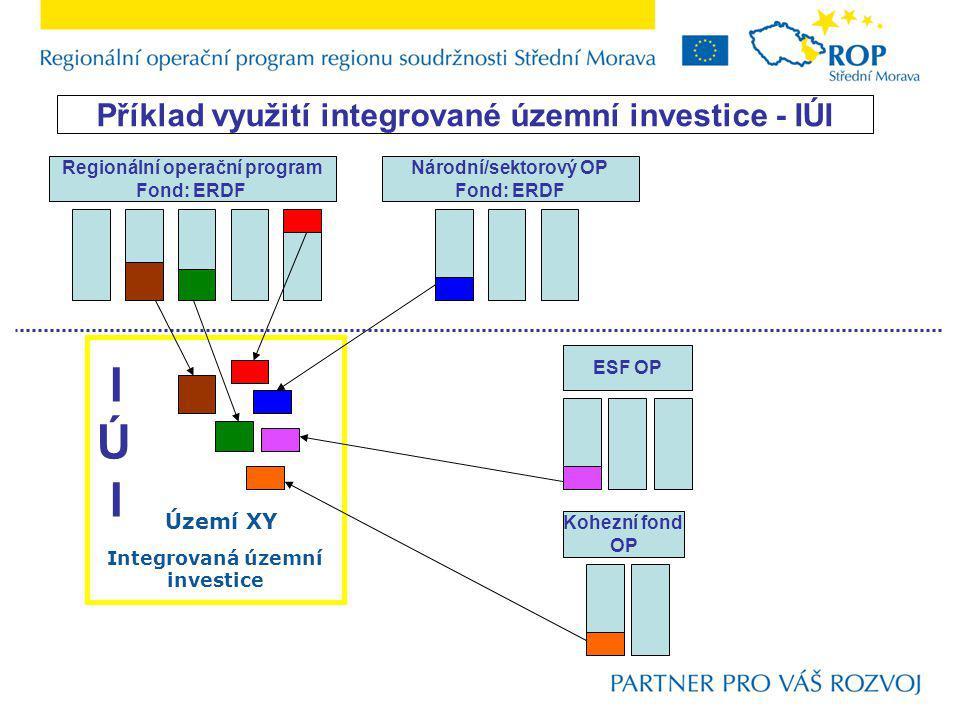 Regionální operační program Fond: ERDF Národní/sektorový OP Fond: ERDF ESF OP Kohezní fond OP IÚ I IÚ I Území XY Příklad využití integrované územní investice - IÚI Integrovaná územní investice