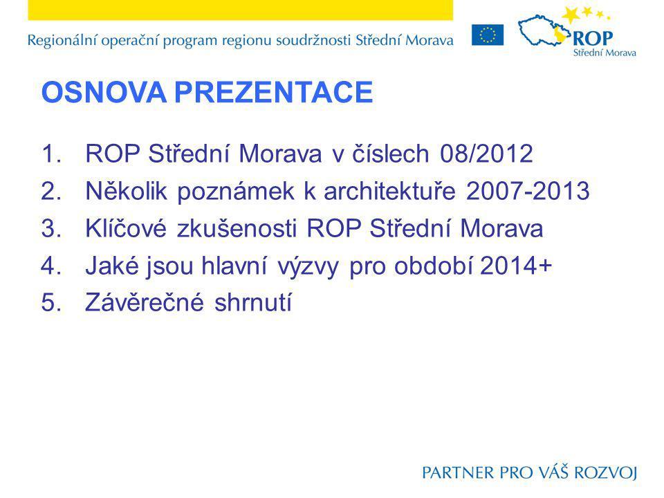 OSNOVA PREZENTACE 1.ROP Střední Morava v číslech 08/2012 2.Několik poznámek k architektuře 2007-2013 3.Klíčové zkušenosti ROP Střední Morava 4.Jaké jsou hlavní výzvy pro období 2014+ 5.Závěrečné shrnutí