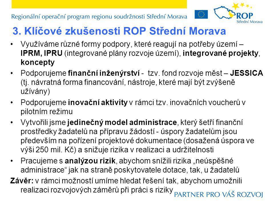 3. Klíčové zkušenosti ROP Střední Morava Využíváme různé formy podpory, které reagují na potřeby území – IPRM, IPRU (integrované plány rozvoje území),