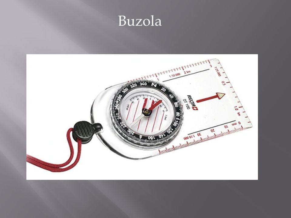 Základem buzoly je kompas, který svou střelkou ukazuje na magnetický pól Země.