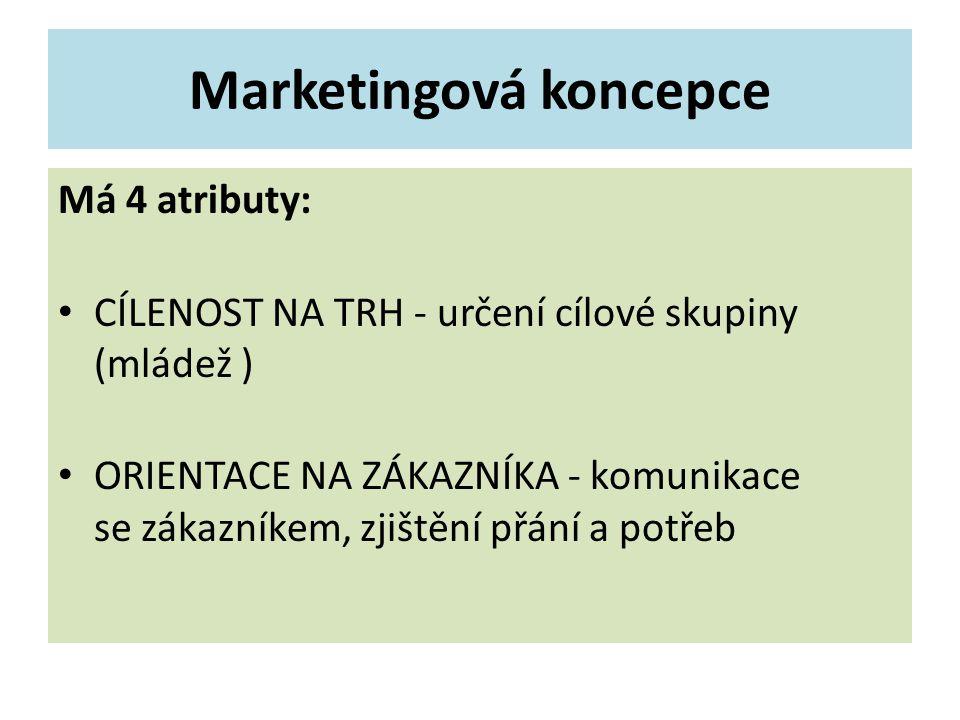 Marketingová koncepce Má 4 atributy: CÍLENOST NA TRH - určení cílové skupiny (mládež ) ORIENTACE NA ZÁKAZNÍKA - komunikace se zákazníkem, zjištění přání a potřeb