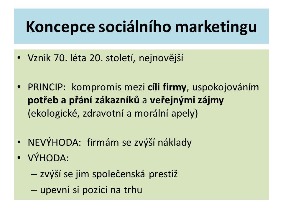 Koncepce sociálního marketingu Vznik 70. léta 20.