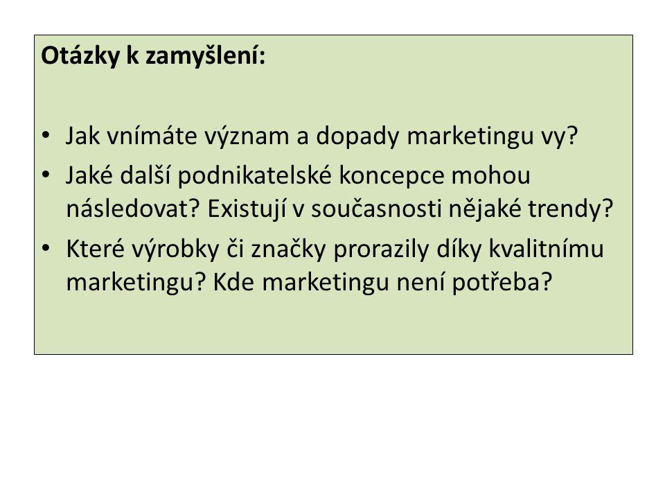 Otázky k zamyšlení: Jak vnímáte význam a dopady marketingu vy.
