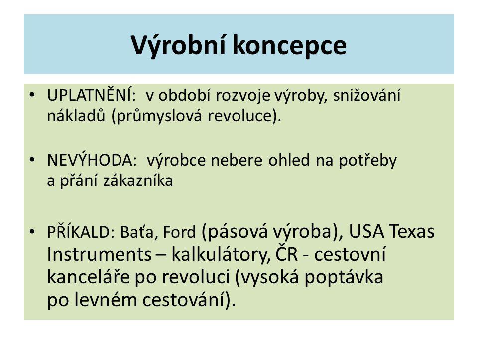 Výrobní koncepce UPLATNĚNÍ: v období rozvoje výroby, snižování nákladů (průmyslová revoluce).