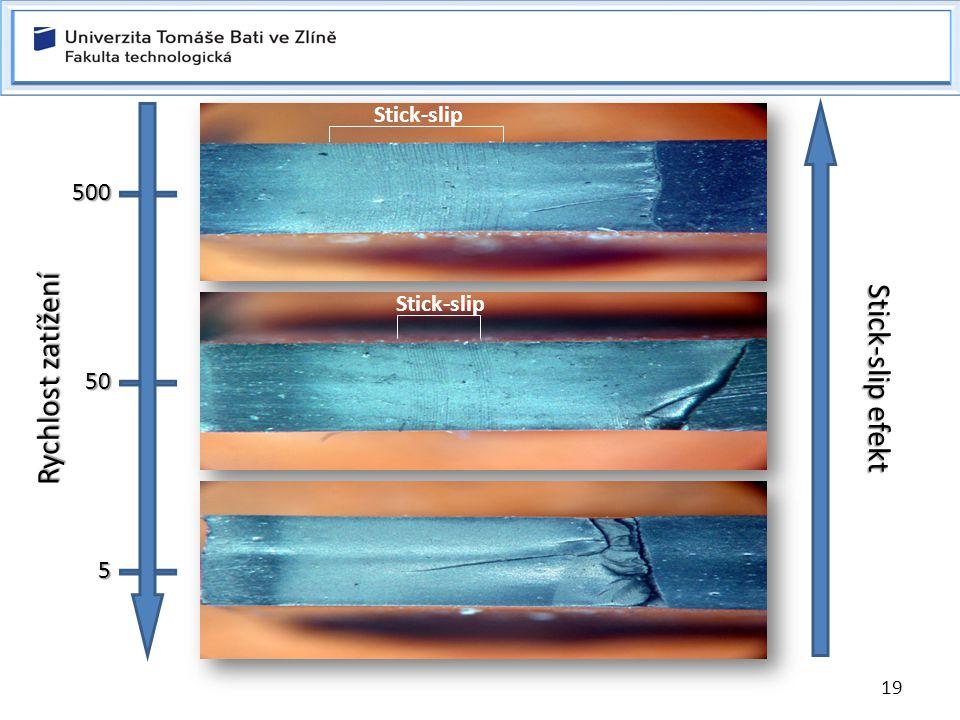 19 5 mm/min StabilníNestabilní Stick-slip efekt Stick-slip Rychlost zatížení 500 50 5