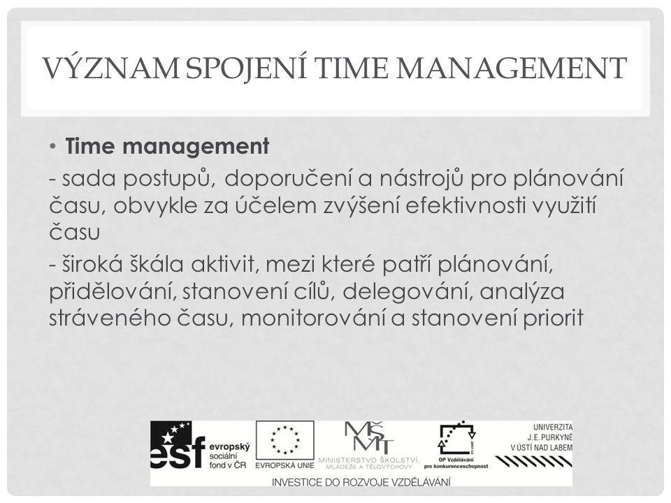 LIFE MANAGEMENT schopnost sebereflexe – zhodnocení disponibilního času, stanovení osobních cílů přístup k plánování času Typ A je rychlý a aktivní, nejdříve jedná, poté teprve přemýšlí.