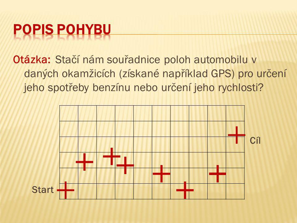 Otázka: Stačí nám souřadnice poloh automobilu v daných okamžicích (získané například GPS) pro určení jeho spotřeby benzínu nebo určení jeho rychlosti.