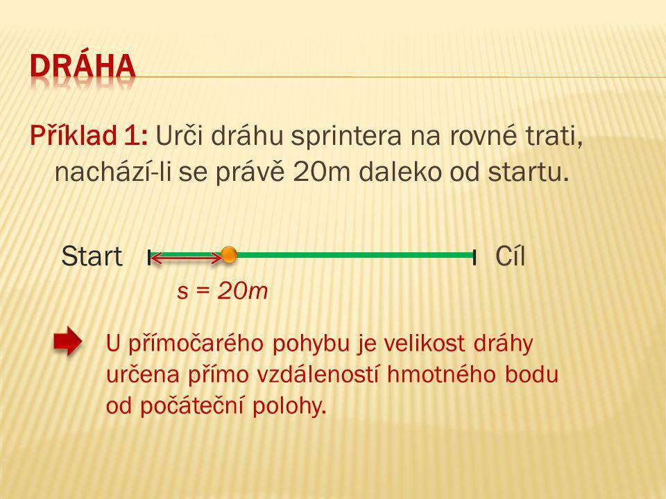 Příklad 1: Urči dráhu sprintera na rovné trati, nachází-li se právě 20m daleko od startu. StartCíl s = 20m U přímočarého pohybu je velikost dráhy urče