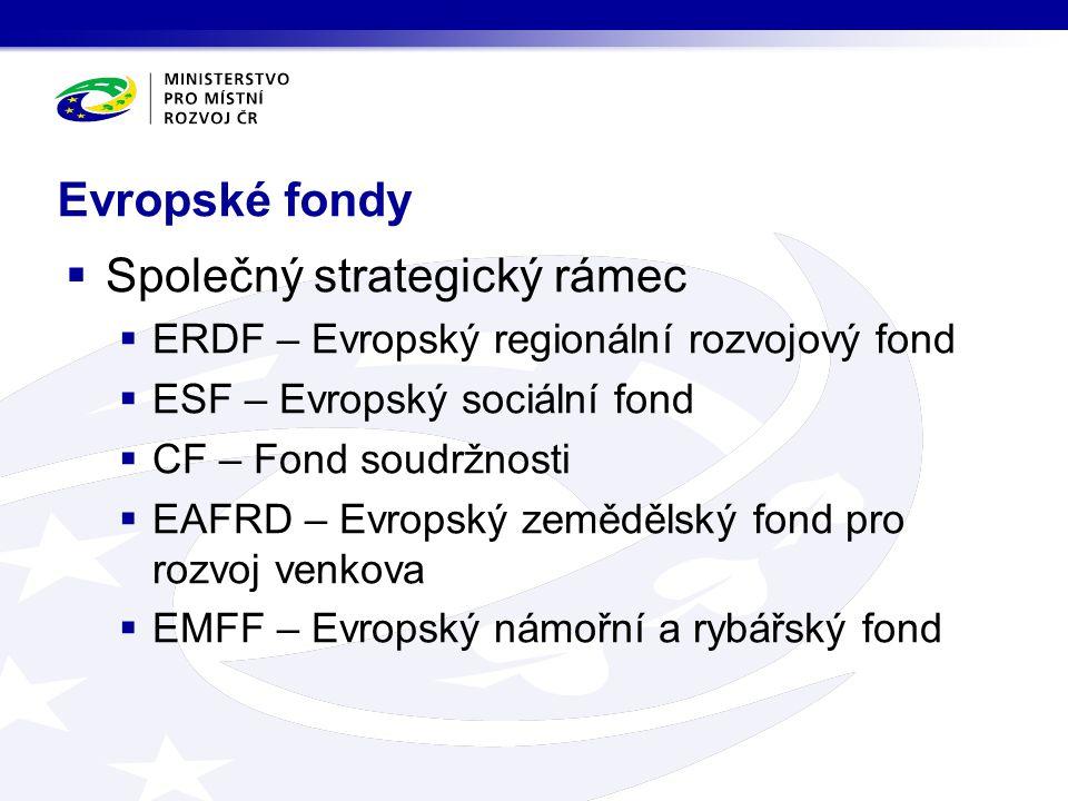 Evropské fondy  Společný strategický rámec  ERDF – Evropský regionální rozvojový fond  ESF – Evropský sociální fond  CF – Fond soudržnosti  EAFRD