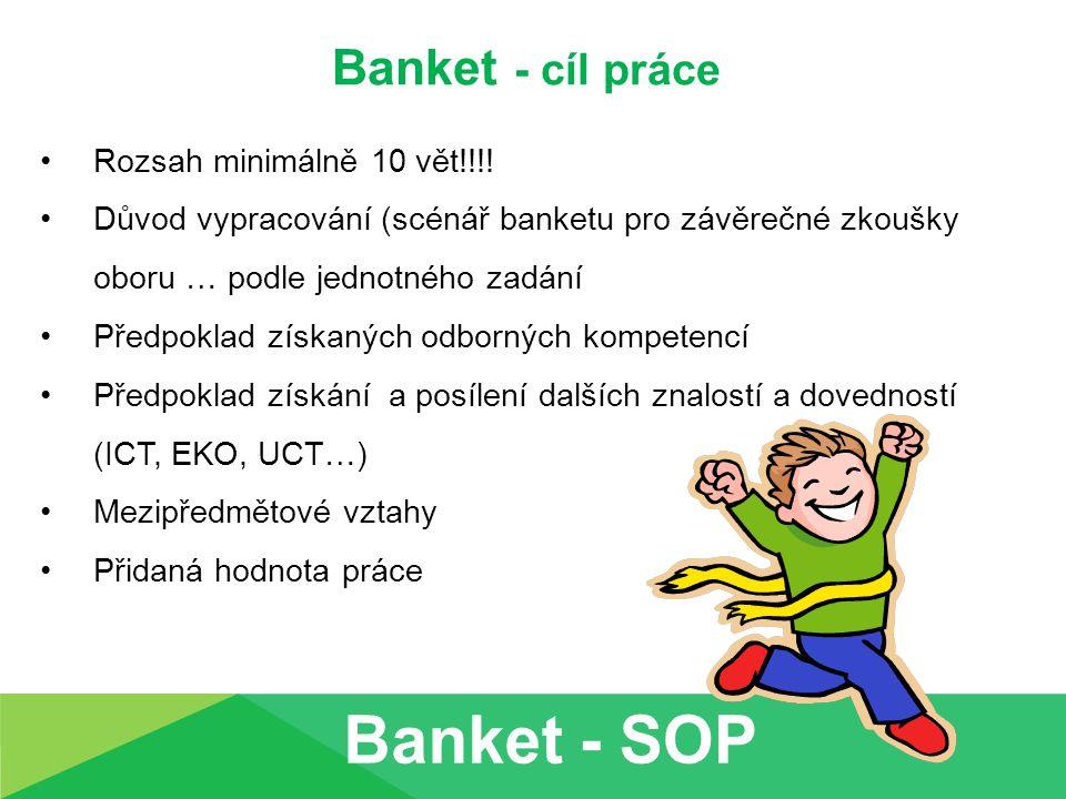 Banket - cíl práce Příklad žákovského stanovení cílů: Samostatnou odbornou práci vypracovávám kvůli uspěnému zakončení závěrečných zkoušek.