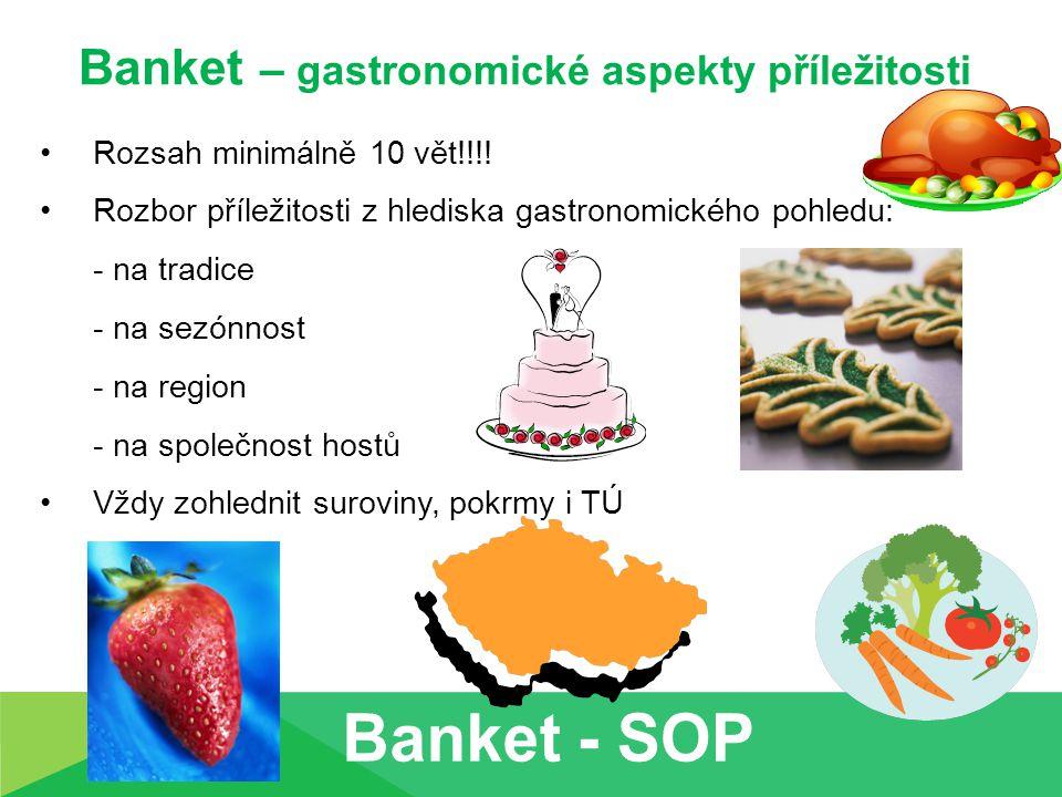 Banket – gastronomické aspekty příležitosti Rozsah minimálně 10 vět!!!.