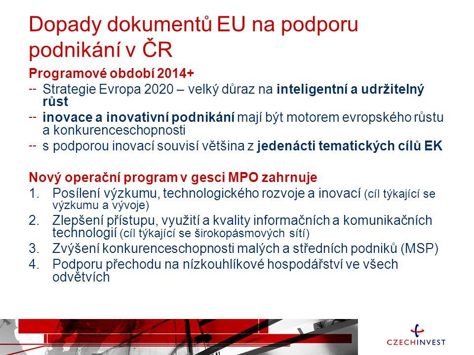 Dopady dokumentů EU na podporu podnikání v ČR Programové období 2014+ Strategie Evropa 2020 – velký důraz na inteligentní a udržitelný růst inovace a