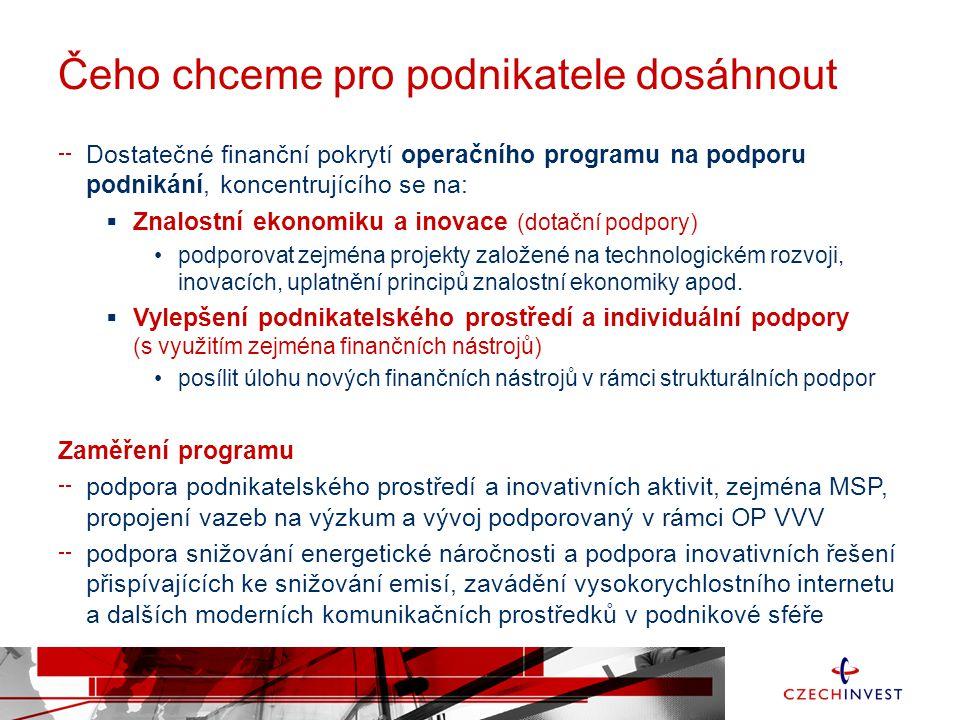 Čeho chceme pro podnikatele dosáhnout Dostatečné finanční pokrytí operačního programu na podporu podnikání, koncentrujícího se na:  Znalostní ekonomi