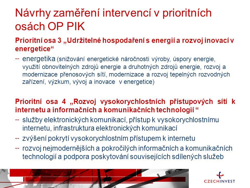 """Návrhy zaměření intervencí v prioritních osách OP PIK Prioritní osa 3 """"Udržitelné hospodaření s energií a rozvoj inovací v energetice"""" energetika (sni"""