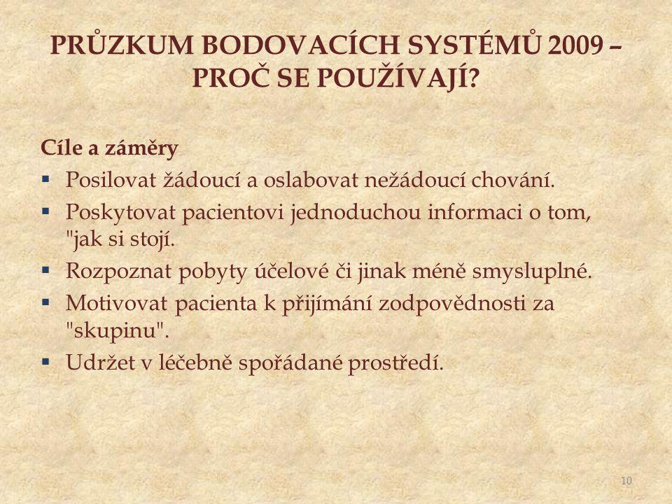 PRŮZKUM BODOVACÍCH SYSTÉMŮ 2009 – PROČ SE POUŽÍVAJÍ.