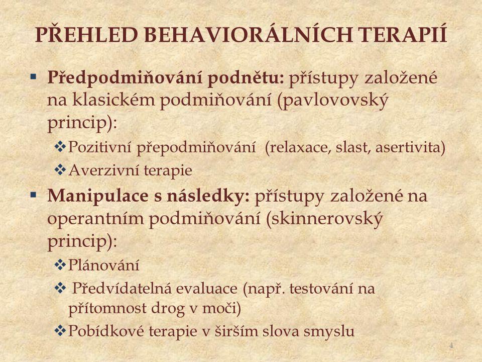 PŘEHLED BEHAVIORÁLNÍCH TERAPIÍ  Předpodmiňování podnětu: přístupy založené na klasickém podmiňování (pavlovovský princip):  Pozitivní přepodmiňování (relaxace, slast, asertivita)  Averzivní terapie  Manipulace s následky: přístupy založené na operantním podmiňování (skinnerovský princip):  Plánování  Předvídatelná evaluace (např.
