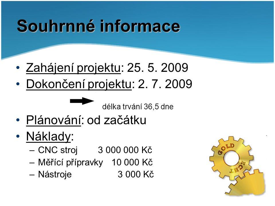 Souhrnné informace Zahájení projektu: 25. 5. 2009 Dokončení projektu: 2. 7. 2009 délka trvání 36,5 dne Plánování: od začátku Náklady: –CNC stroj 3 000