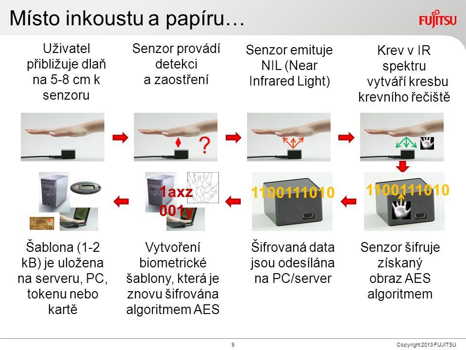 9Copyright 2013 FUJITSU Krev v IR spektru vytváří kresbu krevního řečiště Uživatel přibližuje dlaň na 5-8 cm k senzoru Senzor provádí detekci a zaostření .
